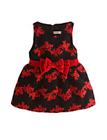 Girl's Gold / Red Dress,Floral Cotton Summer
