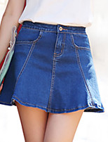 Women's Solid Blue Skirts,Work / Casual / Day Above Knee