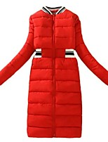 Women's Striped Red / White / Black / Gray Padded Coat,Street chic Stand Long Sleeve