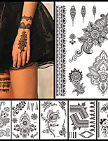 6PCS Black Ink Temporary Tattoo 2016 New Women Men Fashion Body Back Art Tattoo Sticker