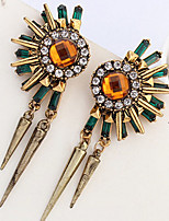 The New Rhinestones Rivets Retro Flower Drop Earrings
