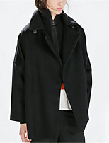 Women's Casual/Daily Street chic Pea Coats,Solid Shirt Collar Long Sleeve Winter Black Polyester