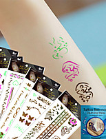 6Pcs Gold Temporary Tattoo Stickers Fluorescence Arabic  Feather Tattoos Stickers