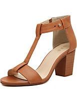 Women's Shoes Leatherette Chunky Heel Comfort Sandals Outdoor Black / Brown