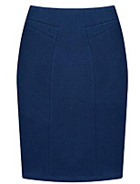 Women's S-3XL Plus Size Solid Blue / Red / Black / Gray Skirts,Plus Size / Work / Casual / Day Mini