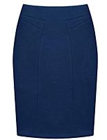De las mujeres Faldas-Mini Tallas Grandes / Para Trabajo / Casual Microelástico-Algodón / Poliéster