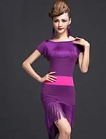 Latin Dance Dresses Women's Performance Chinlon / Viscose Tassel(s) 1 Piece Black / Purple / Red / Royal Blue Latin Dance Dress