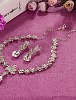 Women's AAA Cubic Zirconia Silver Necklace & Earrings Jewelry Set