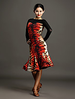 High-quality Spandex and Tulle with Animal Print Latin Dance Dresses for Women's Performance(More Colors)