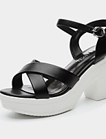 Women's Shoes Synthetic Chunky Heel Peep Toe Sandals Wedding/Office & Career /Party & Evening/Dress/Casual Black/White