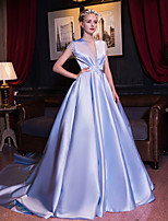 Formal Evening Dress Ball Gown Jewel Cathedral Train Satin / Stretch Satin withBeading / Crystal Detailing / Draping / Flower(s) / Pearl