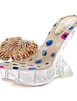 Черный / Белый / Золотистый-Женская обувь-Для праздника / На каждый день-Латекс-На танкетке-С открытым носком / На платформе-Сандалии