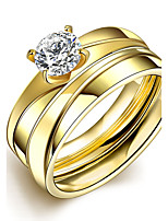 2016 Luxury Zircon Romantic Gold Titanium Steel Wedding Couple Ring