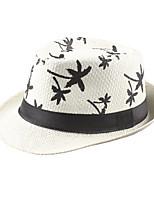 New Vintage Unisex Straw Panama Hat Contrast Color Print Summer Sun Beach Holiday Cap