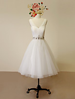 A-line Wedding Dress-Ivory Knee-length V-neck Satin / Tulle