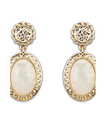 Super Retro Palace Elegant Women 3 Colors Oval Alloy Pierced Drop Earrings