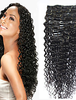 8a 100% clip di naturale Remy nelle estensioni dei capelli umani clip di capelli brasiliani vergini in onda profonda estensione
