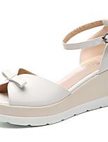 Chaussures Femme-Bureau & Travail / Habillé / Soirée & Evénement-Rose / Blanc-Talon Compensé-Compensées-Sandales-Similicuir