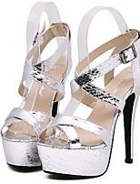 Women's Shoes Leatherette Summer Heels Party & Evening Stiletto Heel Buckle Black / Silver