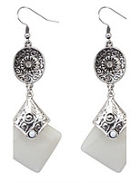 Fashion Mix Colors Square Shaped Drop Earrings Silver Ear Hook Women Antique Accessories