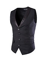 Men's Korean Fashion Patchwork Single Breasted Slim Fit Suit Vest,Cotton / Polyester