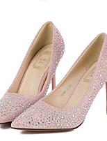 נעלי נשים-בלרינה\עקבים-דמוי עור-עקבים-ורוד / כסוף-חתונה / מסיבה וערב-עקב סטילטו