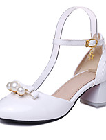 Women's Shoes Patent Leather Chunky Heel D'Orsay & Two-Piece / Ankle Strap / Round Toe Sandals Wedding Dress