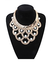 Punk Style Black Gold Plated Oval Statement Necklaces Pendants for Women Choker Collares Fine Jewelry 2016