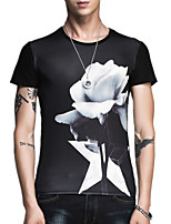 Summer Plus Sizes Men's Round Neck Short Sleeve Slim Casual Printing T-Shirt Tops
