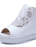 Chaussures Femme-Bureau & Travail / Habillé / Décontracté-Noir / Blanc-Plateforme-Bout Ouvert / Creepers / Bout Arrondi-Sandales-