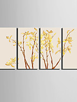 E-HOME® Stretched Canvas Art Elegant Yellow Flowers Decoration Painting  Set of 4