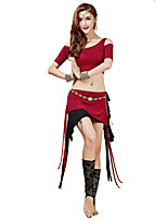 Belly Dance Outfits Women's Training Modal Sash/Ribbon 2 Pieces Fuchsia / Orange / Burgundy Belly Dance Short Sleeve Natural Skirt / Top