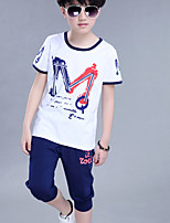 Boy's Print Letter Stitching Cotton Short Sleeve Clothing Set(T-shirt & Harem Pants)