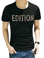 Tee-Shirt Décontracté Pour des hommes Manches Courtes A Motifs Coton