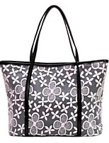 Women PU Shopper Shoulder Bag-Beige / Black