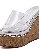Women's Shoes Leatherette Summer Wedges / Heels Outdoor / Casual Wedge Heel White / Silver