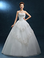 A-line Wedding Dress-Floor-length Strapless Lace / Tulle