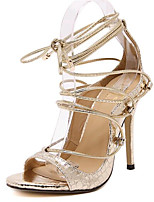 Women's Shoes Leatherette Summer Heels Party & Evening Stiletto Heel Lace-up Black / Silver / Gold