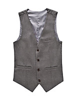 Men's Casual Slim Solid Color Suit Vest,Cotton / Polyester Formal Solid