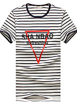 Men's Fashion Striped Letter Round Collar Slim Fit Short Sleeve T-Shirt, Cotton/Casual / Plus Sizes