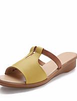 Chaussures Femme-Extérieure / Habillé / Décontracté-Noir / Jaune / Blanc-Talon Bas-Bout Ouvert-Sandales-Similicuir