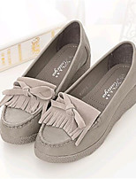 Women's Shoes Leatherette Flat Heel Comfort Loafers Outdoor / Casual White / Gray