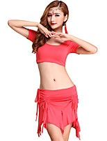 Belly Dance Outfits Women's Training Modal Draped 3 Pieces Fuchsia / Orange / Burgundy Belly Dance Short Sleeve NaturalSkirt / Top /