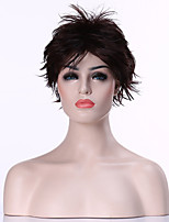 Capless Popular Dark  Brown Short Curly Synthetic Hair Wig Woman's  Full  Wigs Suit for Daily Life