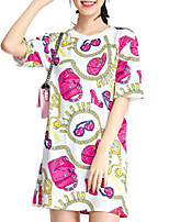 Women's Print Pink Blouse,Round Neck Short Sleeve