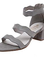 Women's Shoes Fleece Summer Heels Outdoor / Casual Chunky Heel Zipper Black / Gray