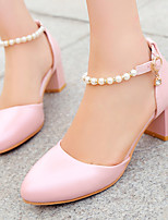 Women's Shoes Chunky Heel D'Orsay & Two-Piece/Round Toe Heels Office & Career/Dress Blue/Pink/White