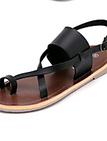 Women's Shoes Leatherette Summer Comfort Outdoor / Casual Flat Heel Buckle Black / White / Silver