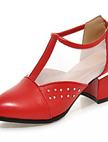 Women's Shoes Leatherette Chunky Heel Heels Heels Outdoor / Office & Career / Dress Blue / Green / Red / White / Silver