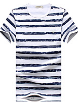 Men's Fashion Striped Round Collar Slim Fit Short Sleeve T-Shirt, Cotton/Casual / Plus Sizes